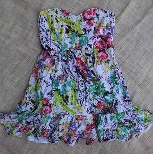 🌈 splatter print mini dress baby doll small 🌈